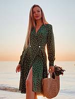 Платье в горошек длины миди с длинными рукавами
