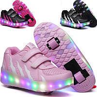 Роликовые светящиеся кроссовки LED детские и подростковые. Хит 2019
