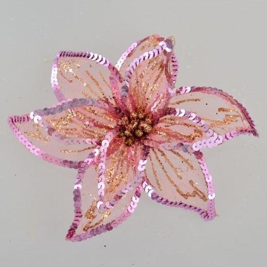 """Квітка пуансетії Yes! Fun """"Розкіш"""" напівпрозора рожева, 23*23см"""