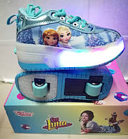 Роликовые кроссовки Disney с LED подошвой Детские (28 -36 размеры). Хит 2019. евро качество!