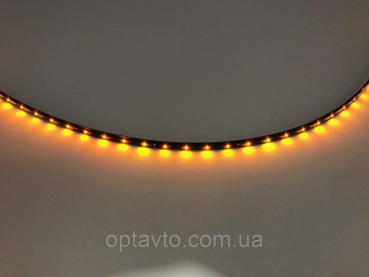 Диодная автомобильная подсветка, лента на самоклейке 1 метр / 40 диодов/ Желтая