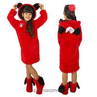 Теплый махровый халат для девочки (8-10 лет) красный
