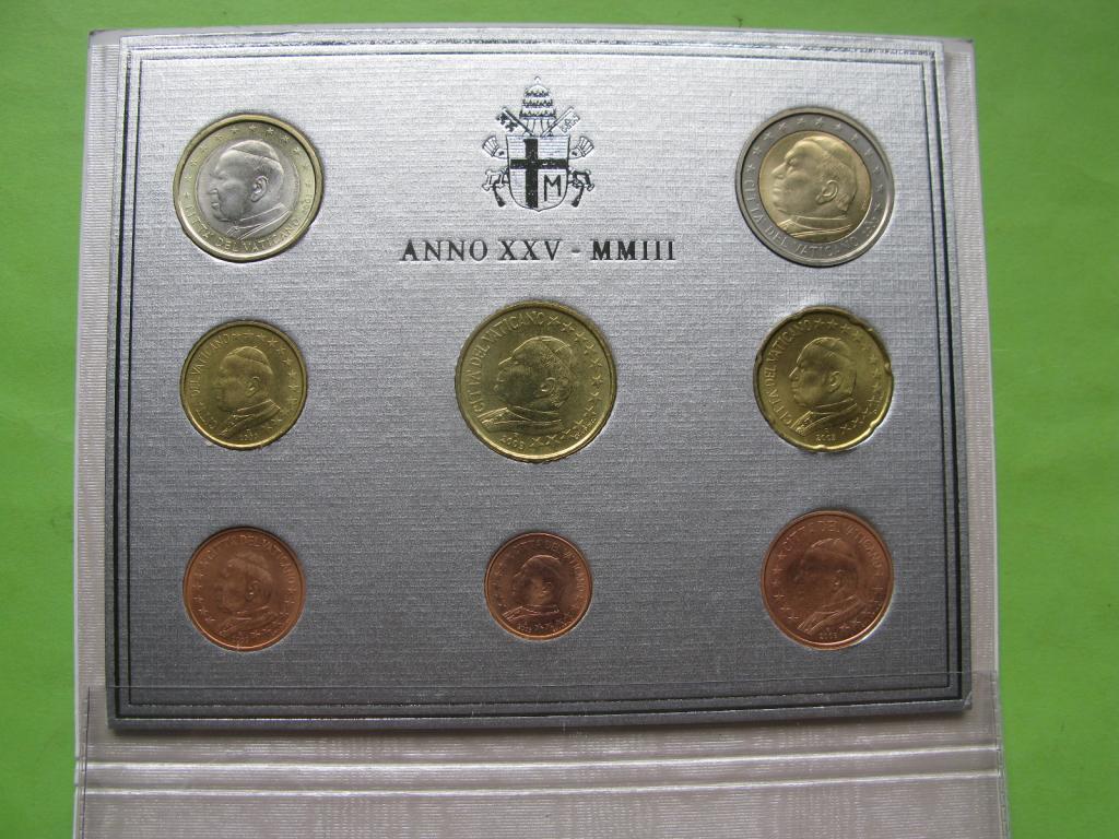 Ватикан официальный набор евро монет 2003 г.(Папа Иоанн Павел II)