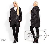 Модная женская удлиненная куртка демисезонная с капюшоном, размеры 42, 44, 46