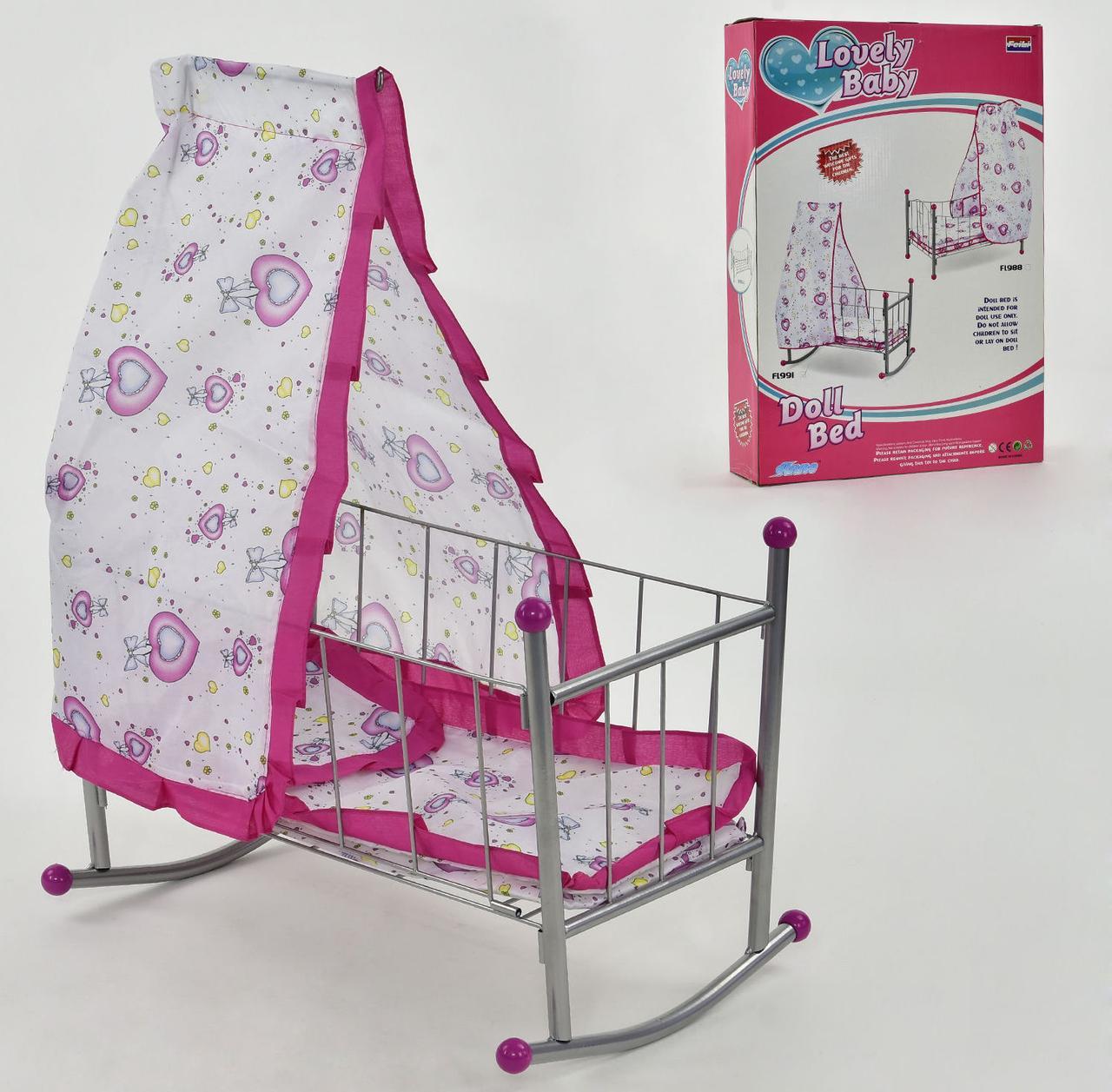 Дитяче ліжечко для ляльок FL 991 (12) з балдахіном, в кор-ке