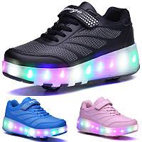 Роликовые кроссовки в стиле Heelys мигающая подошва. Детские и Подростковые (27-43 размеры). Хит 2019