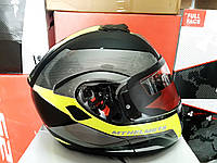 Мото шлем модуляр трансформер MT Atom серо-зелёный