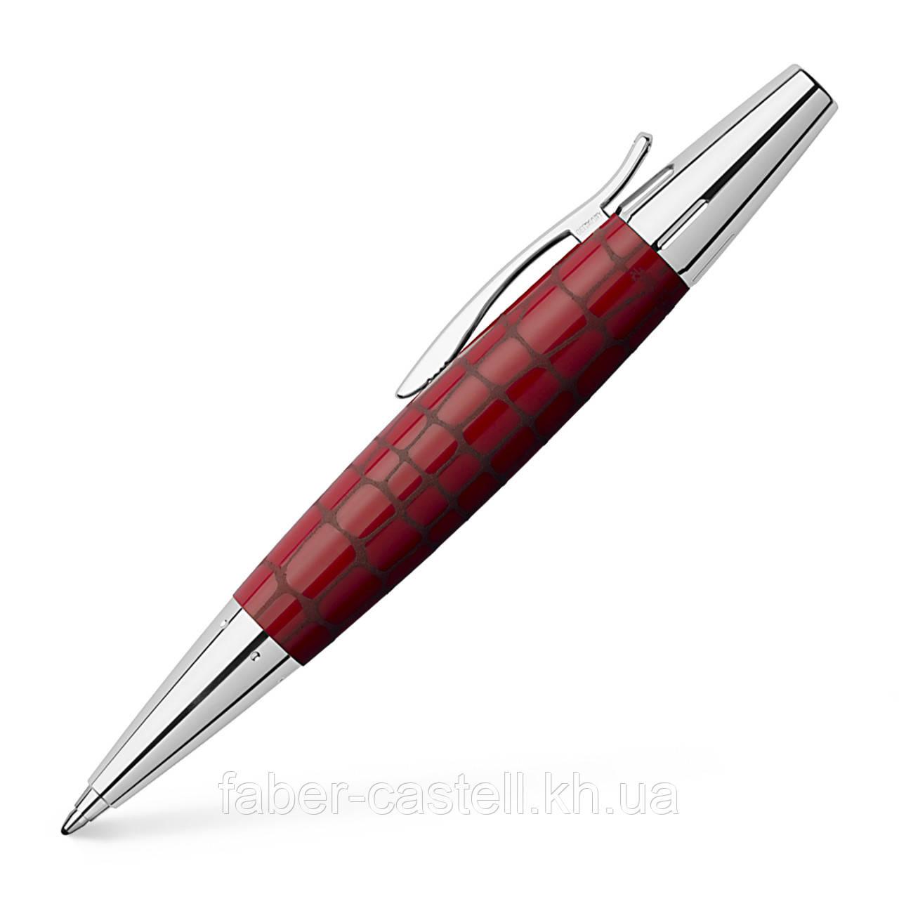 Ручка шариковая Faber-Castell E-motion resin сroco hibiscus, корпус темно-красный, 148357