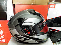 Мото шлем модуляр трансформер MT Atom серый
