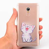 """Панель накладка Прозрачная TPU Case для Apple iPhone 5/5S/SE с принтом """"Котенок"""""""