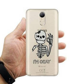 "Панель накладка Прозрачная TPU Case для Apple iPhone 6 Plus/6S Plus с принтом ""Скелет - I`m OKay"""