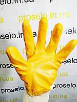 """Перчатки нитриловые защитные х\б SP-0110"""" (12пар\упаковка). Желтые. Intertool SP-0110"""