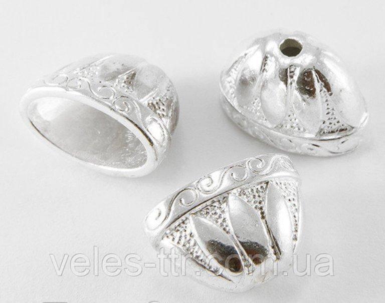 Колпачок концевик Плоский 2 металлический серебро 14х20х12 мм