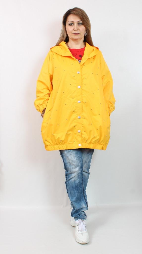 Турецкая женская желтая ветровка больших размеров 52-62