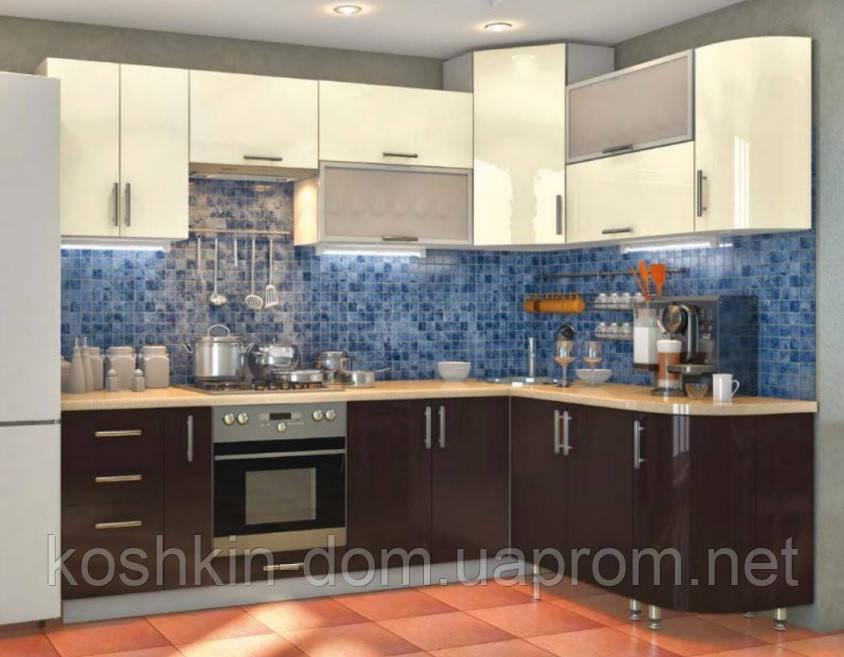 Кухня модульная угловая 2600 * 1700 мм, MDF пленочный