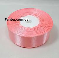 Стрічка атласна лососево-рожевий однотонна (ширина 2.5 см)1 рул-22м, фото 1
