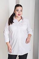 Мега стильная женская белая рубашка большого размера  с 48 по 82 размер