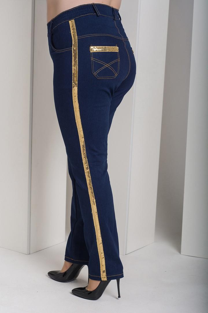 Очень модные женские джинсы с лампасами из пайеток батал с 48 по 82 размер
