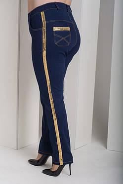 Очень модные женские джинсы с лампасами из пайеток батал с 48 по 82 размер, фото 2