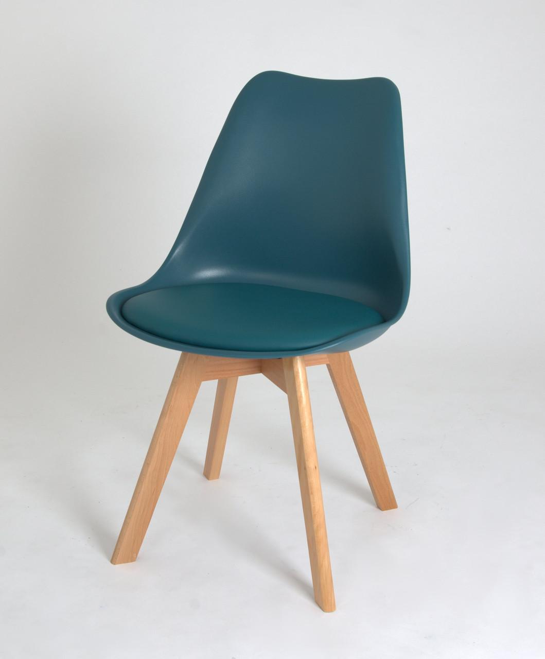 Стул пластик Milan (Милан) зеленый 02 на деревянных ножках, мягкое сиденье