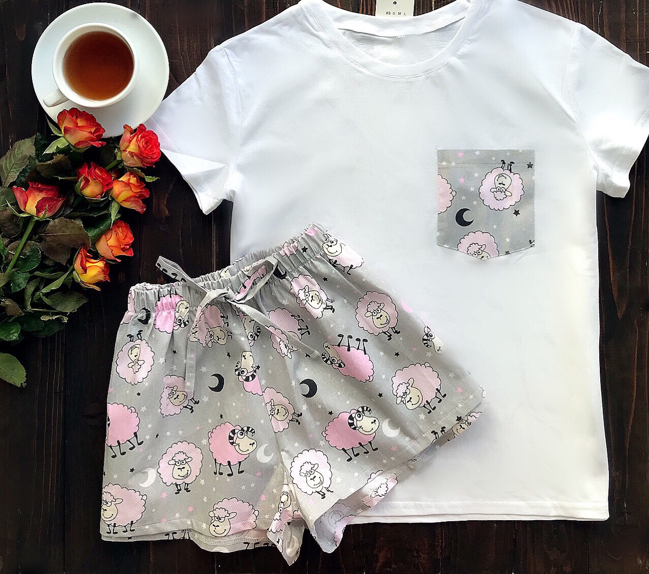 Пижама футболка и шорты S-M барашки