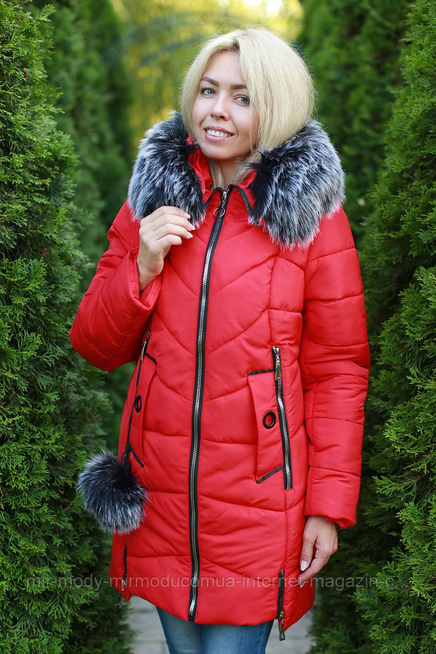 Зимняя женская куртка с опушкой большого размера 50-58  (modnyst)