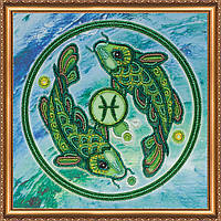"""Набір для вишивання бісером на натуральному художньому холсті   """"Знаки Зодіаку  """"Риби"""" Abris art"""