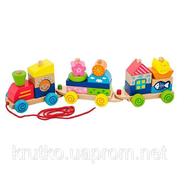 """Игрушка-каталка Viga Toys """"Паровозик"""" (50089)"""