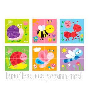 """Пазл-кубики Viga Toys """"Насекомые"""" (50160), фото 2"""