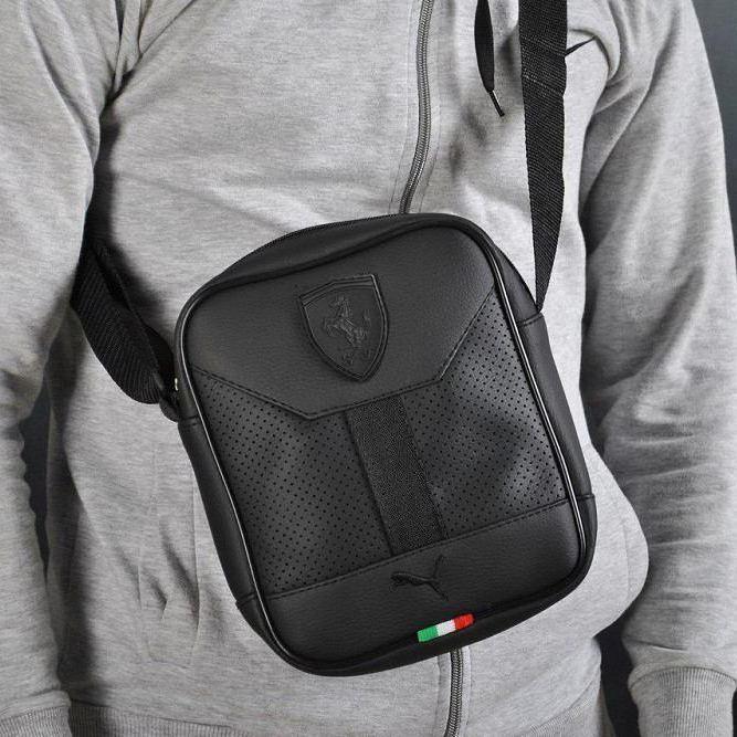 Стильная сумка через плечо, барсетка Puma Ferrari, пума ферари. Черная Vsem