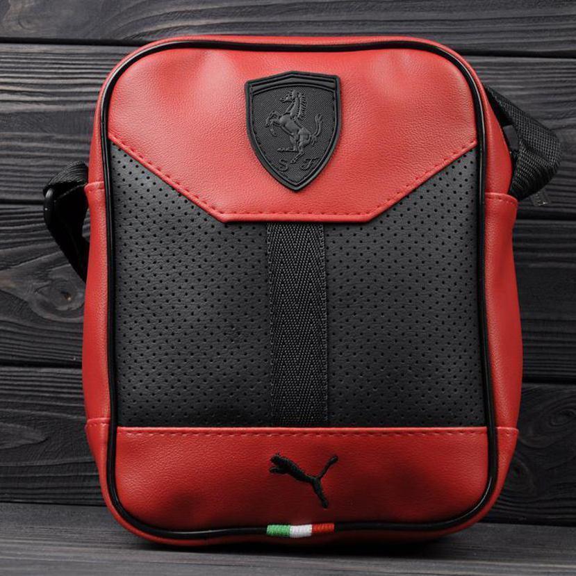 Стильная сумка через плечо, барсетка Puma Ferrari, пума ферари. Красная Vsem