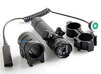 Лазерный целеуказатель зеленый луч 10 мВт водонепроницаемый защита от вибрации крепление 21 мм выносная кнопка, фото 1