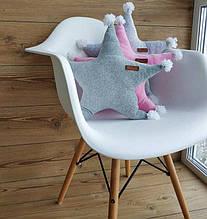 """Дитяча декоративна подушка з бавовняного велюру """"Зірочка"""""""