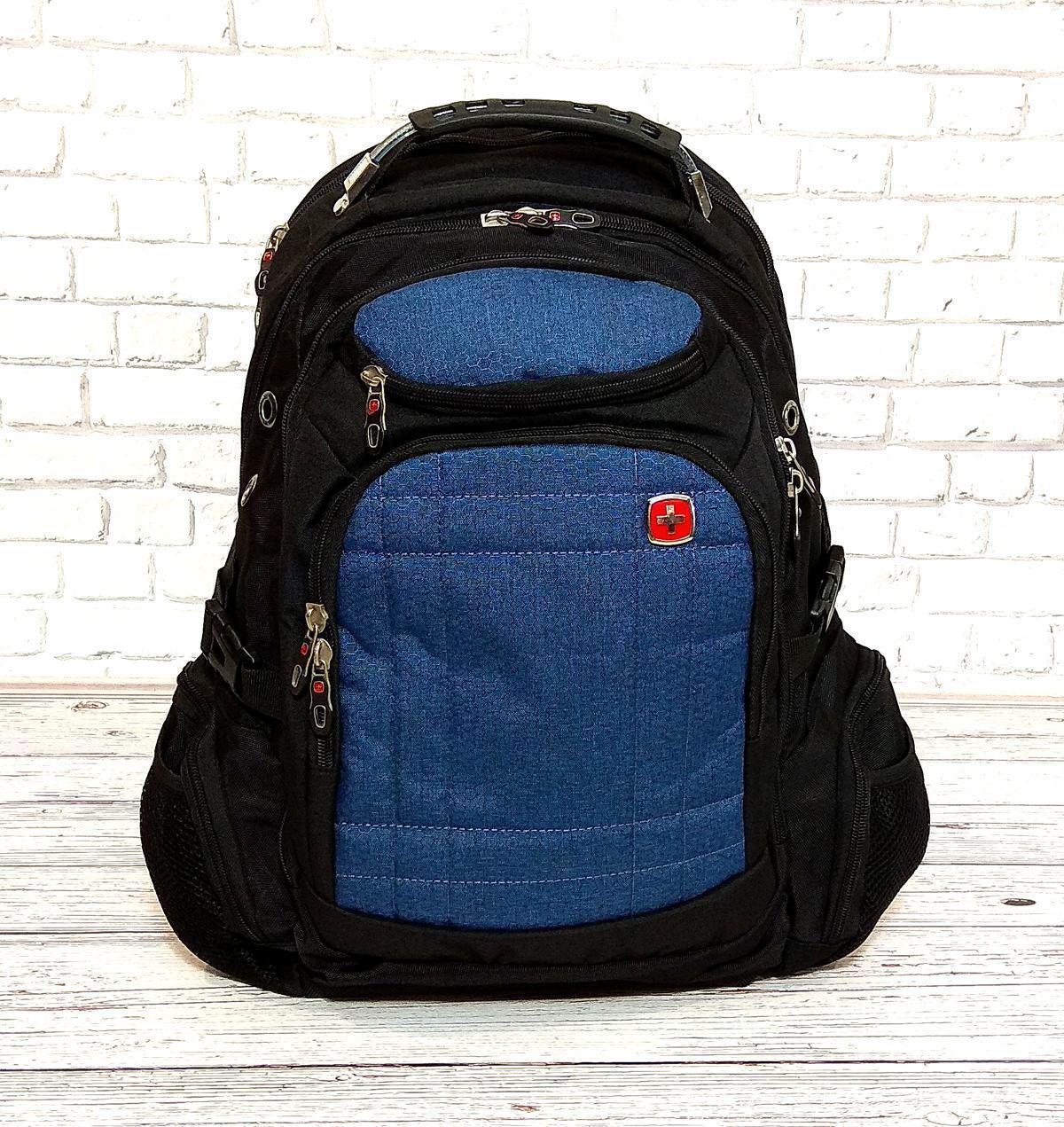 Вместительный рюкзак SwissGear Wenger, свисгир. Черный с синим. + Дождевик. 35L / s8855 blue Vsem