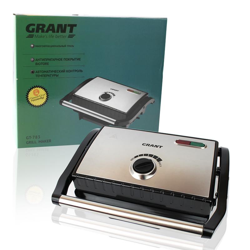 Гриль прижимной домашний с регулировкой температуры GRANT GT 783 1500W электрогриль, бутербродница
