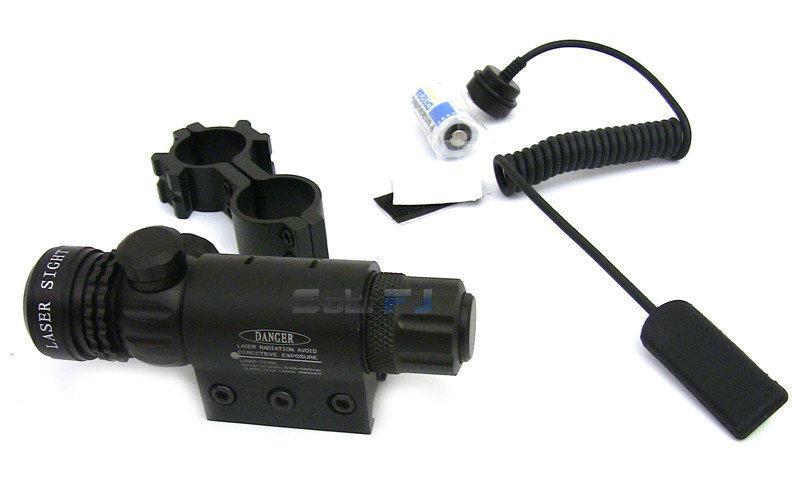 Лазерный целеуказатель красный луч 7 мВт водонепроницаемый защита от вибрации крепление 21 мм выносная кнопка