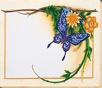 """Набір для вишивання бісером фото рамки і """"Блакитний метелик"""" 20*27 см"""