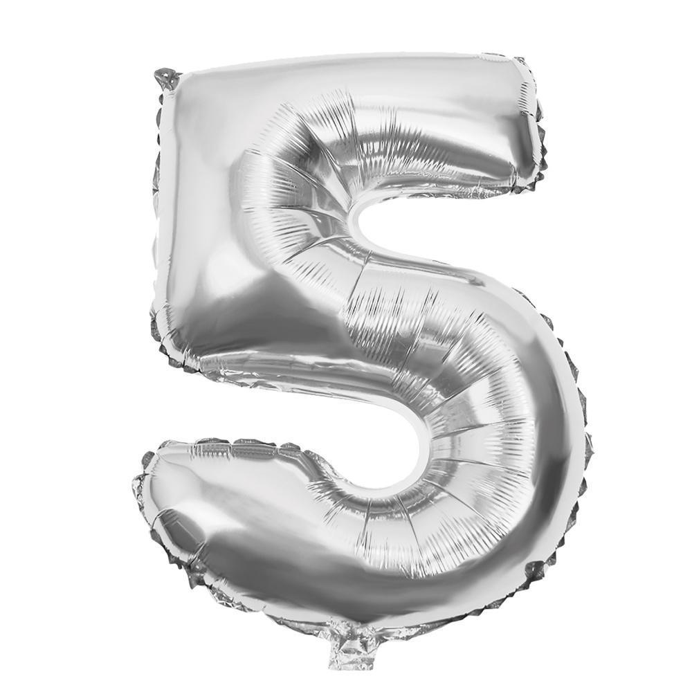 """Фольгированный воздушный шар Цифра """"5"""" 90 см Серебро"""