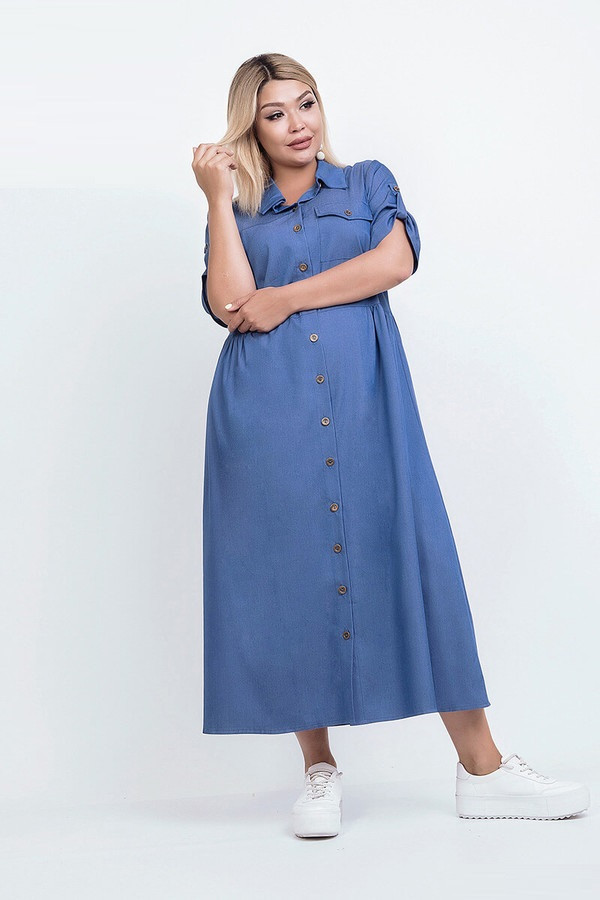 Джинсовое платье–рубашка длинное 50499 (48–54р) в расцветках