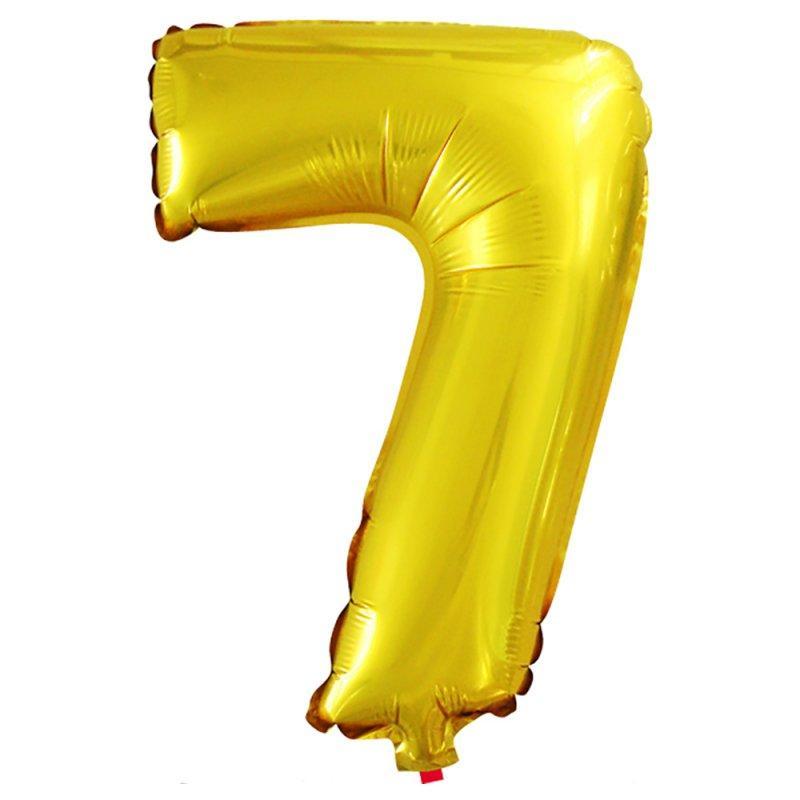 """Фольгированный воздушный шар Цифра """"7"""" 90 см Золото"""