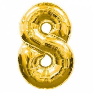 """Фольгированный воздушный шар Цифра """"8"""" 90 см Золото"""