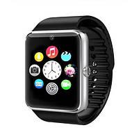 Умные наручные часы Smart Watch GT08 серебристые с черным ремешком, фото 1