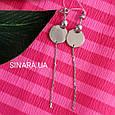 Серьги висюльки Coin - Серьги висячие серебряные минимализм - Длинные серьги цепочки серебро, фото 4