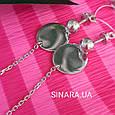 Серьги висюльки Coin - Серьги висячие серебряные минимализм - Длинные серьги цепочки серебро, фото 2