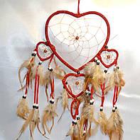 """Ловец снов """"Сердце""""- защита от плохих снов (красный)"""