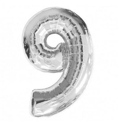 """Фольгированный воздушный шар Цифра """"9"""" 90 см Серебро"""