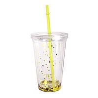 """Стакан пластиковый с трубочкой """"Шипучка"""" желтый, 550 мл."""