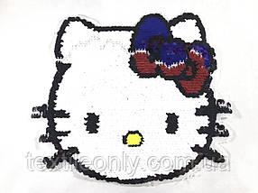 Велика нашивка Hello Kitty з паєтками перевертнями 230х220 мм колір різнобарвний