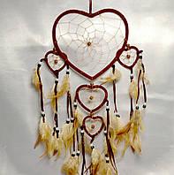 """Ловец снов """"Сердце""""- защита от плохих снов (бордовый)"""