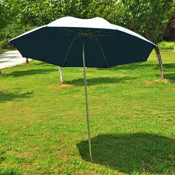 Зонт для рыбалки с наклоном, диаметр 2,5 м., с серебряным напылением снаружи,с клапаном и системой ромашка.